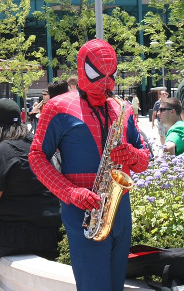 Betcha didn&t know Spidey plays the sax outside CitiField on the weekends