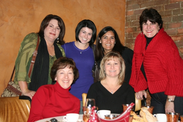 After a very tasty meal filled with good conversation: (Top row) Cindy, me, Sheri, Mom (Seated) Shawn and Dawn