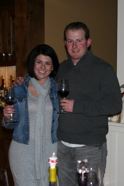 Joe and I sampling wines at Christmas dinner