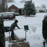 Grandson snow shovel duties