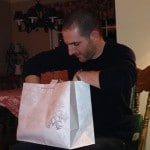 Dave opening his gift