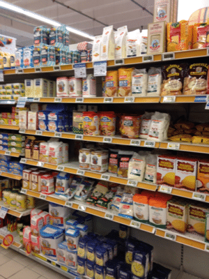 Italian baking aisle 300x400 Thoughts on Italian supermarket shopping