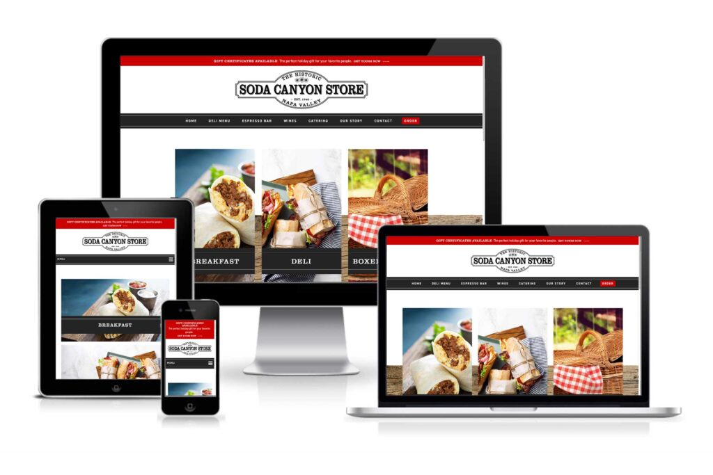 Soda Canyon Store website responsive views
