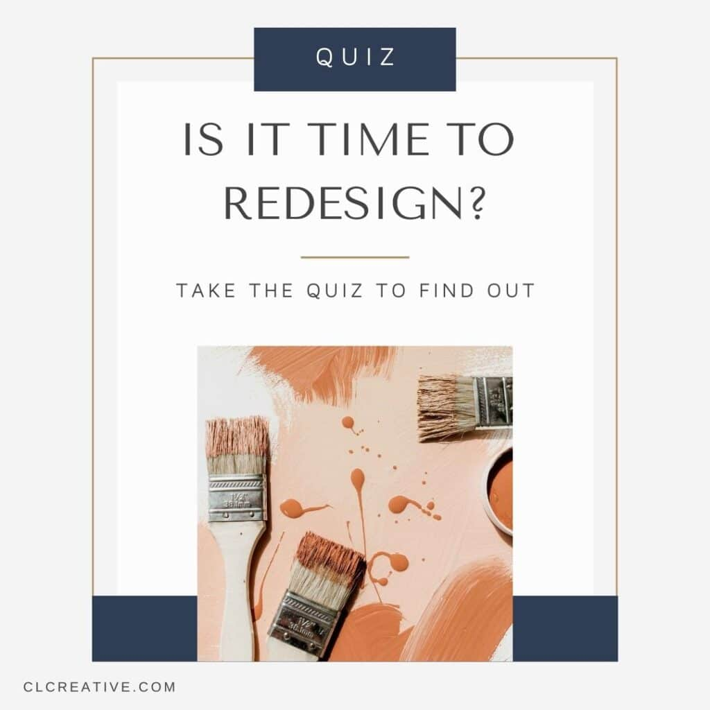 Is It Time to Redesign cover photo with paint brushes and quiz call to action
